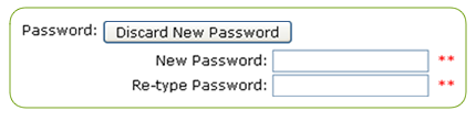 discard new password button and form