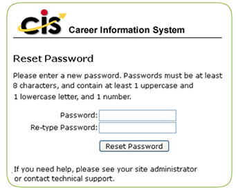 password reset form