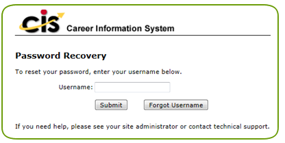 password recovery form