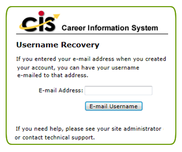 username recovery form